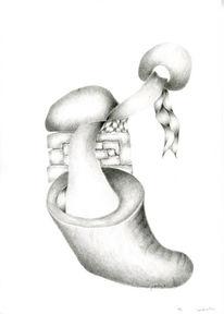 Zeichnung, Bleistiftzeichnung, Verwandlung, Abstrakt