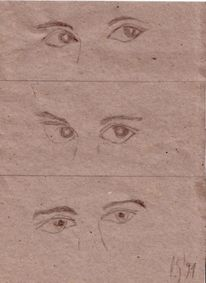 Skizze, Seele, Augen, Zeichnung