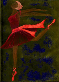 Ballerina, Grafik, Rot, Schuhe