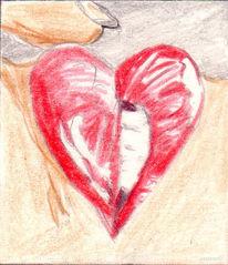 Mund, Kuss, Zeichnung, Herz
