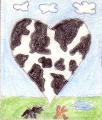 Zeichnung, Kuh, Rind, Natur