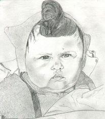 Portrait, Baby, Zeichnung, Zeichnungen