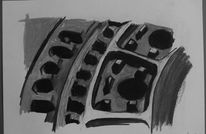 Kanalisation, Kohlezeichnung, Zeichnung, Kreide