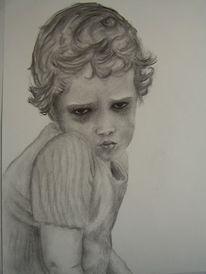Zeichnung, Kohlezeichnung, Kind, Portrait