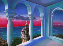 Säule, Blau, Landschaft, Zeichnung