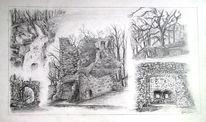Zeichnung, Bleistiftzeichnung, Landschaft, Burg