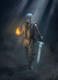 White hair, Feuer, Character design, Fantasie