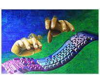 Hand, Nordsee, Schweben, Temperamalerei