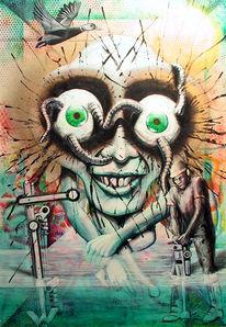 Acrylmalerei, Blut, Alptraum, Mischtechnik