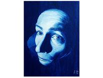Malerei, Temperamalerei, Gesicht, Blau