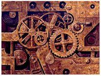 Farben, Uhrwerk, Mechanik, Metall