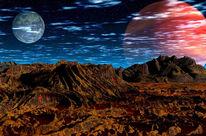 Landschaft, Digital, Eisen, Mond