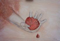 Herz, Surreal, Malerei, Hand