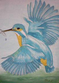 Malerei, Natur, Tiere, Eisvogel