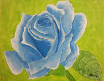 Malerei, Blau, Rose, Pflanzen