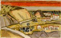 Expressionismus, Fischerdorf, Baum, Impressionismus
