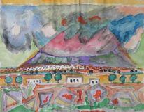 Landschaft, Aquarellmalerei, Vulkan, Malerei