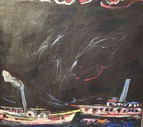 Malerei, Nachtstück, Schiff, Dampfschiff