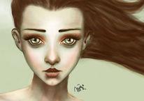 Weiblich, Mädchen, Wip, Pastellmalerei