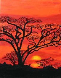 Sonne, Abend, Landschaft, Afrika