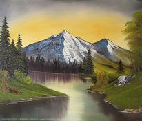 Frühling, Malerei, Sommer, Berge