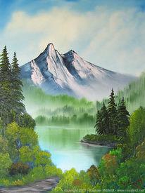 Malerei, Sommer, Berge, Landschaft