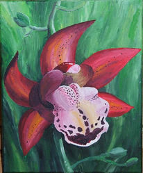 Orchidee, Malerei, Blumen, Pflanzen