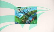 Malerei, Surreal, Jahreszeiten, Baum
