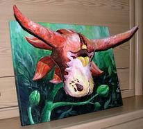 Kuh, Blumen, 3d, Malerei