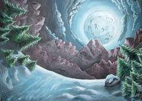 Surreal, Mond, Berge, Schnee