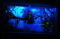 Acrylmalerei, Wald, Nacht, See