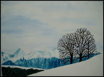 Malerei, Landschaft, Winter