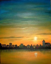 Malerei, Landschaft, Abend
