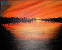 Malerei, Landschaft, Fluss, Abend