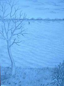 Malerei, Landschaft, Fluss