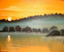 Malerei, Landschaft, Morgen
