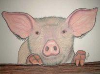 Malerei, Figural, Schwein