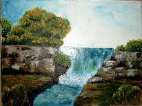 Landschaft, Malerei, Wasserfall