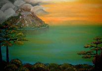 Malerei, Landschaft, Vulkan