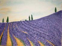 Malerei, Landschaft, Lavendel