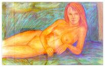 Akt, Grafik, Aquarellmalerei, Quadriga akt