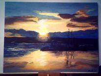 Landschaft, Ölmalerei, See, Sonnenuntergang