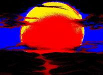 Himmel, Zeichnung, Fluss, Sonnenuntergang