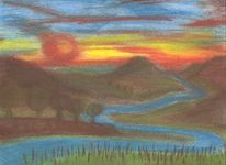 Berge, Abendhimmel, Landschaft, Malerei