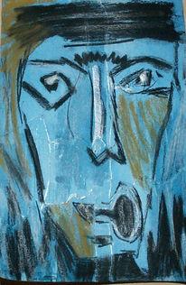 Mann, Abstrakt, Malerei, Blau