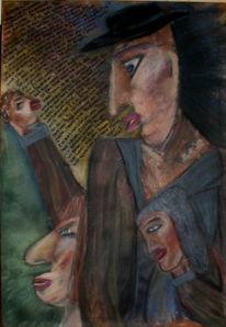 Malerei, Surreal, Dame, König