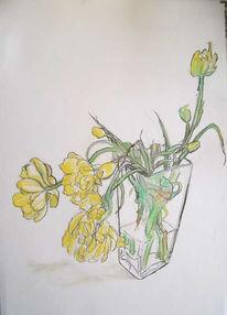 Blumen, Pastellkreiden, Tulpen, Malerei