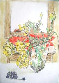 Stillleben, Gelb, Pastellmalerei, Blumen