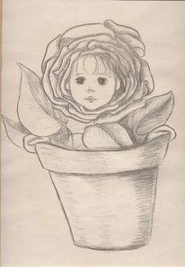 Kind, Skizzen, Blume, Baby