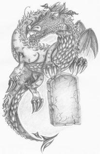 Zeichnung, Drache, Ölmalerei, Skizze